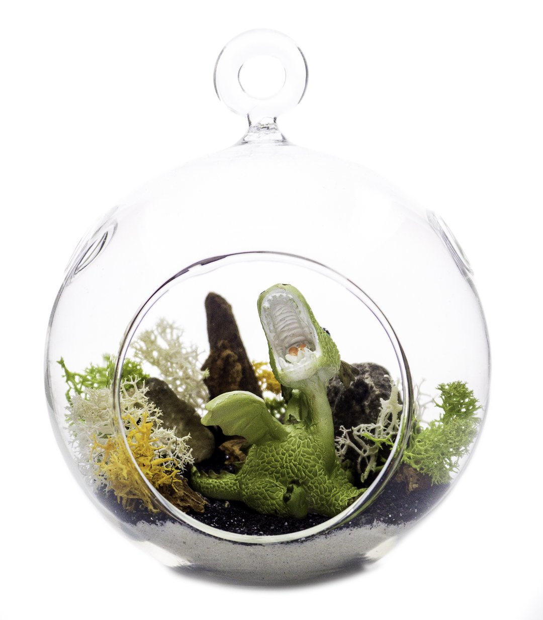 "Terrarium Kit | Roaring Dragon Green | Dragon Series | Complete Terrarium Gift Set | 4"" Glass Globe Terrarium Container 