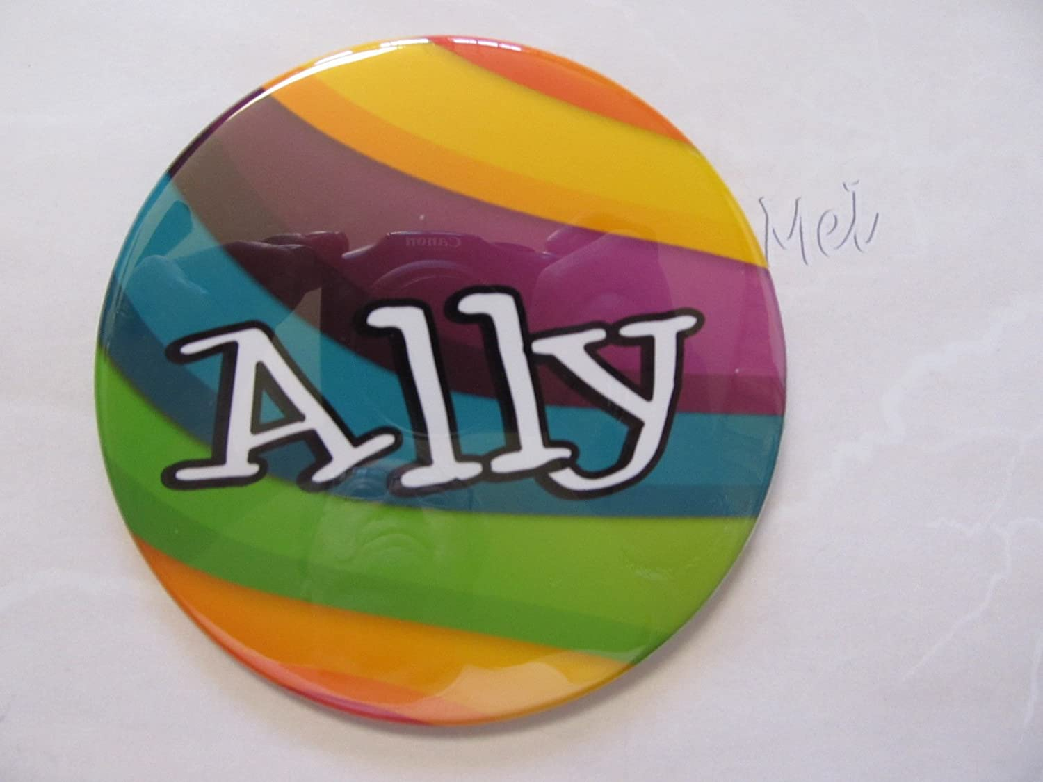 choose your size pin back button Ally pride pin