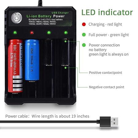 Amazon.com: Cargador inteligente de batería 18650 4Bay ...