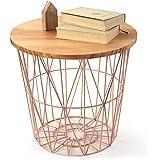 LOWYA (ロウヤ) ワイヤーバスケット バスケット サイドテーブルとしても利用可能 天然木天板 おもちゃ収納 スチール素材 おしゃれ 高さ39cmタイプ ナチュラル/ピンク 新生活