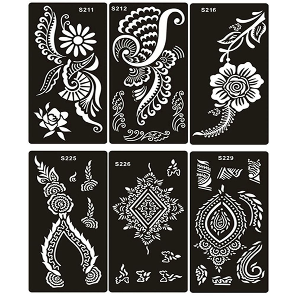 10 Sheet Airbrush Henna Tattoo Stencil for Women Hand Finger Body Paint Gilrs Temporary Tattoo Stickers& Templates 18 X 8.5 Cm xmasir