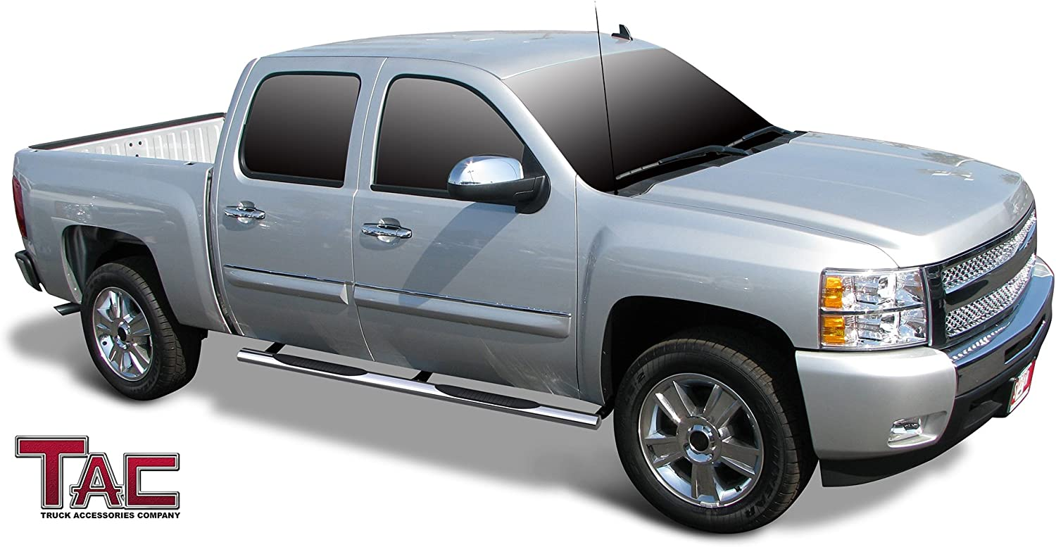 Excl. 2014 1500 Model, Excl. C//K Classic, S.S. Models. TAC Side Steps Fit 2001-2014 Chevy Silverado//GMC Sierra 1500//2500//3500 Crew Cab 4 Oval Tube Stainless Steel Side Bars Nerf Bars