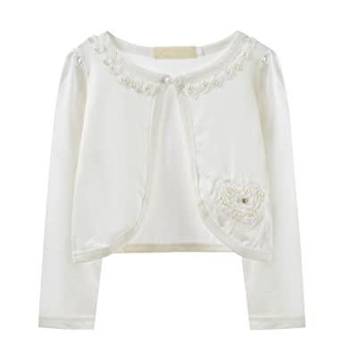2eacf955a Amazon.com  Ourlove Fashion Girls Beaded Flower Knitted Bolero ...