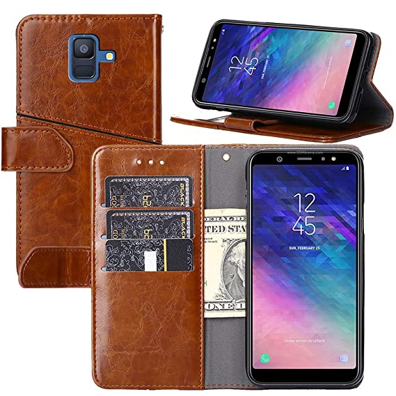 quality design e9f5b d870d Galaxy A6(2018) Wallet Case, YEEGG Wallet Case for Samsung Galaxy A6(2018)  [Stand Feature] Protective PU Leather Flip Cover with Credit Cards ...