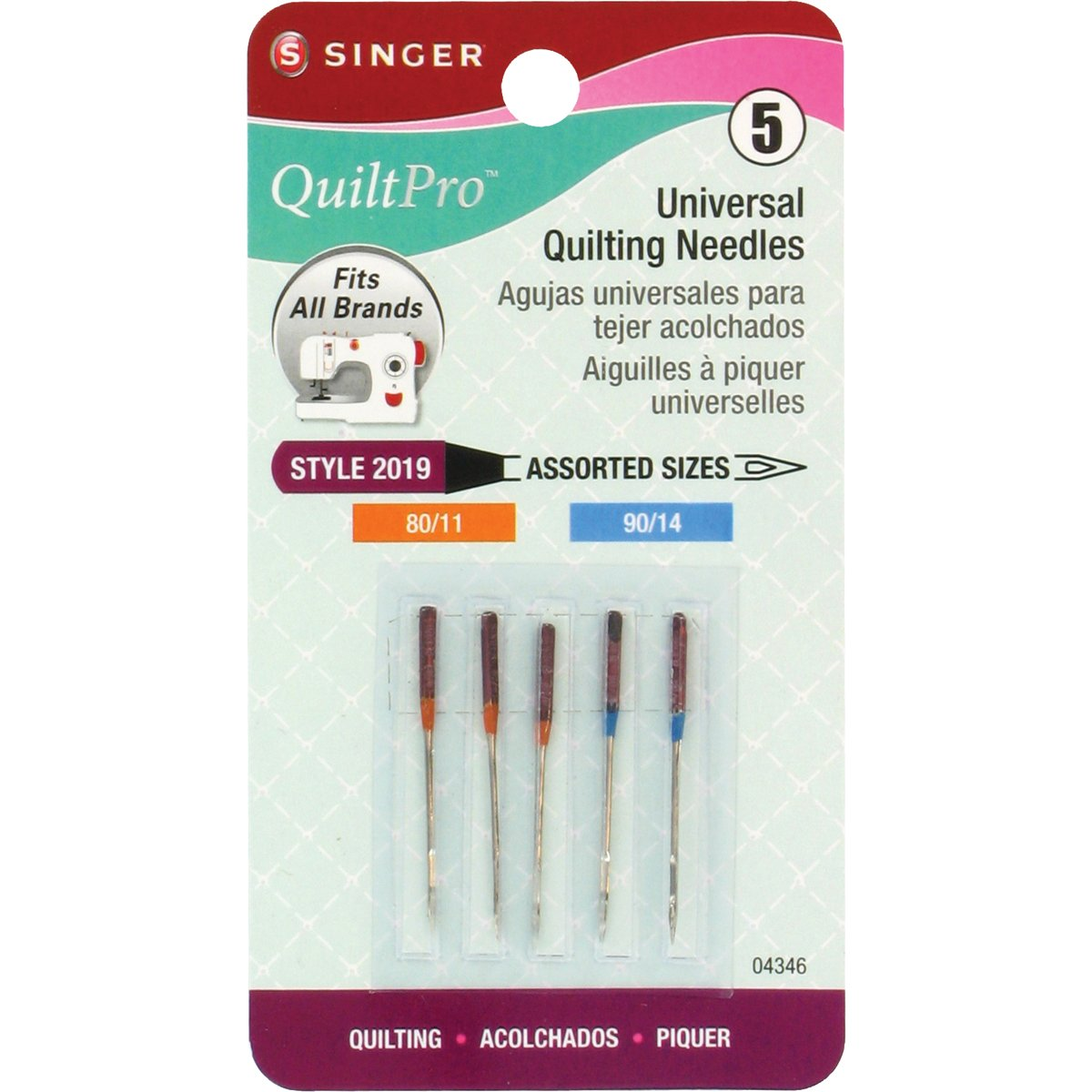 QuiltPro Universal Quilting Needles-Sizes 80/11 (3) & 90/14 (2) 5/Pkg Singer 27101002