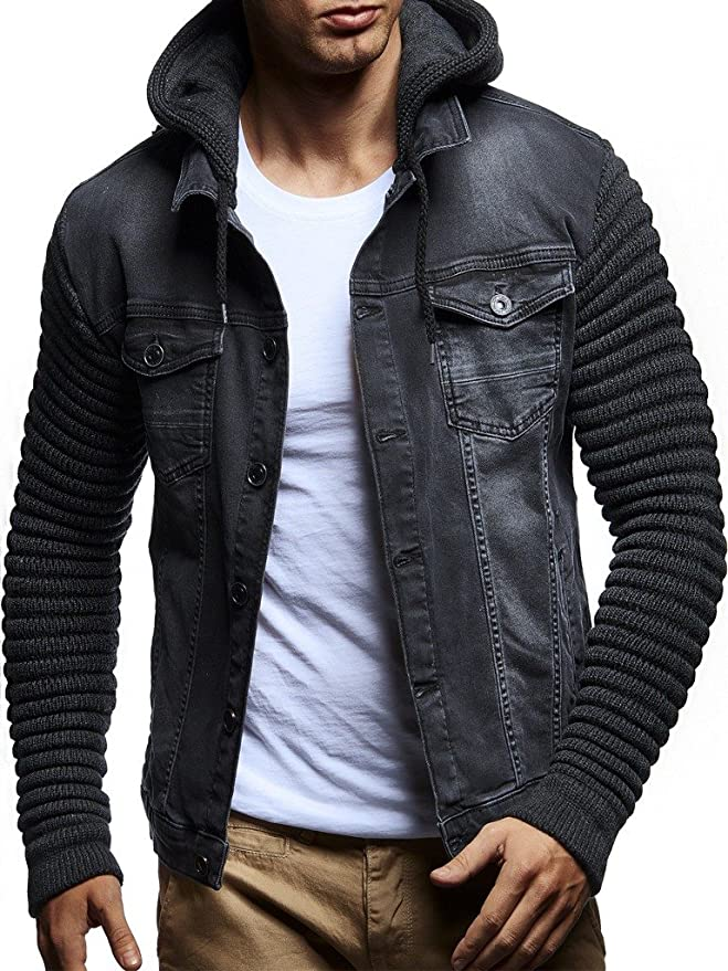 Leif Nelson LN5240 Mens Casual Denim Jacket with Knitted Sleeves; Size 3XL, Anthracite