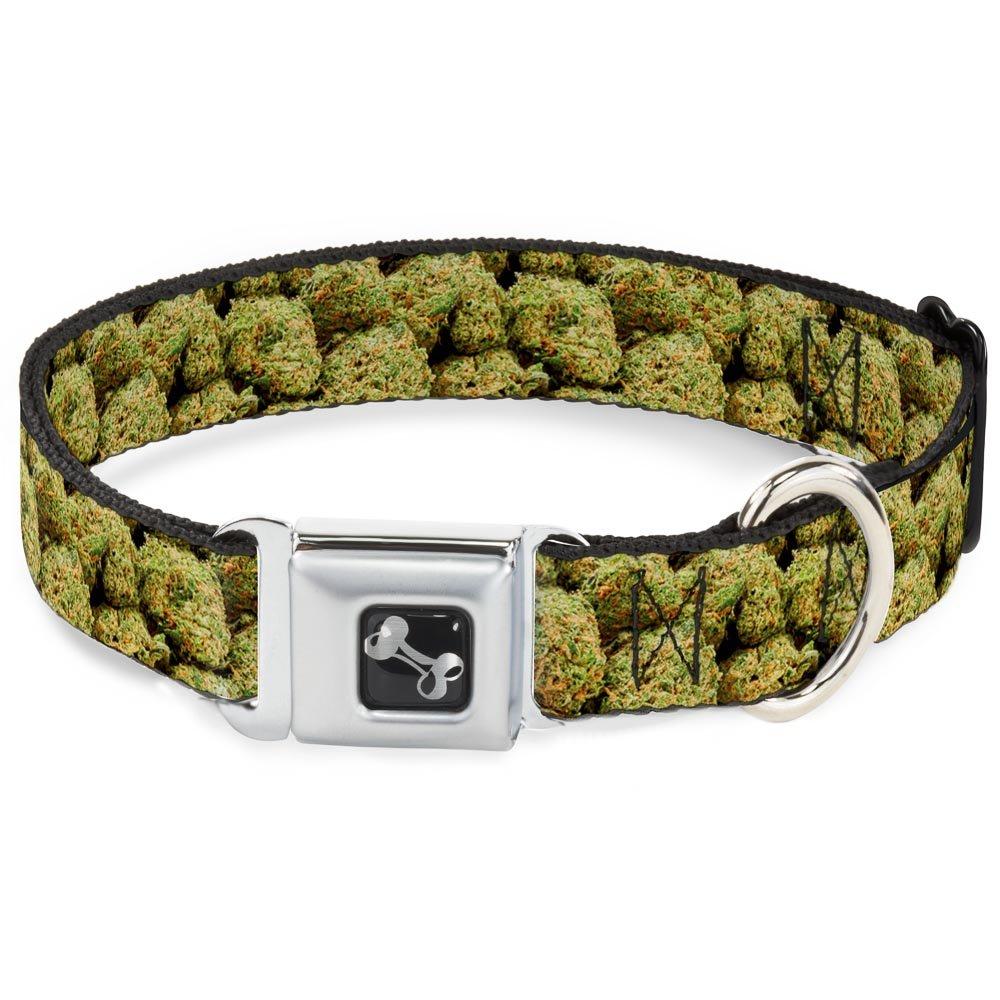 Buckle-Down 13-18  Vivid Marijuana Nugs2 Stacked Dog Collar Bone, Wide Small