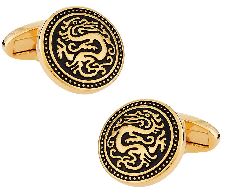 Cuff-Daddy Gold Chinese Dragon Cufflinks with Presentation Box