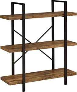 Coaster Home Furnishings 3-Shelf Antique Nutmeg and Black Bookcase