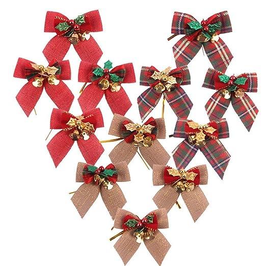 Paquete de 12 Lazos de Cinta navide/ña con Campanas de Hierro para Adornos de /árboles de Navidad Decoraci/ón de Navidad AOFOX Decoraciones para /árboles de Navidad Lazo a Cuadros con Campanas
