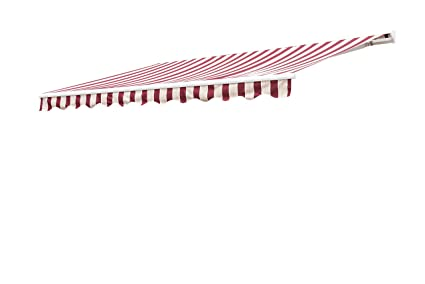new concept 9c2f7 2e71e Sunjoy 14′ x 10′ Marquise Half-Cassette Motorized Retractable Awning - Red,  Red Stripe
