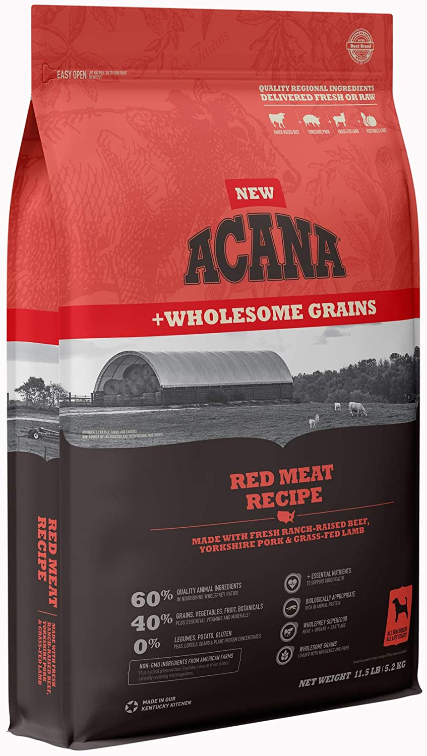 Acana Dry Dog Food with Wholesome Grains, High Protein and Gluten Free