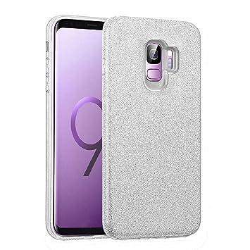Coovertify Funda Purpurina Brillante Plateada Samsung S9, Carcasa resistente de gel silicona con brillo gris Plata para Samsung Galaxy S9 (5,8