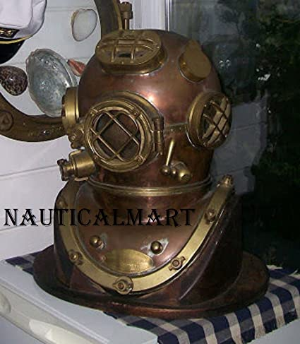 Maritime Collectible Full Size Nautical Iron Divers Nickel Plated Diving Helmet Mark Iv Selling Well All Over The World Antiques