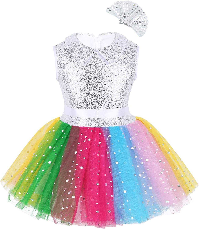 iEFiEL Vestito da Ballerina Bambina Abito da Principessa Compleanno Leotard con Paillettes Vestito da Ballo Danza Balletto Jazz Spettacolo Saggio Tutu Fascia 0-14 Anni