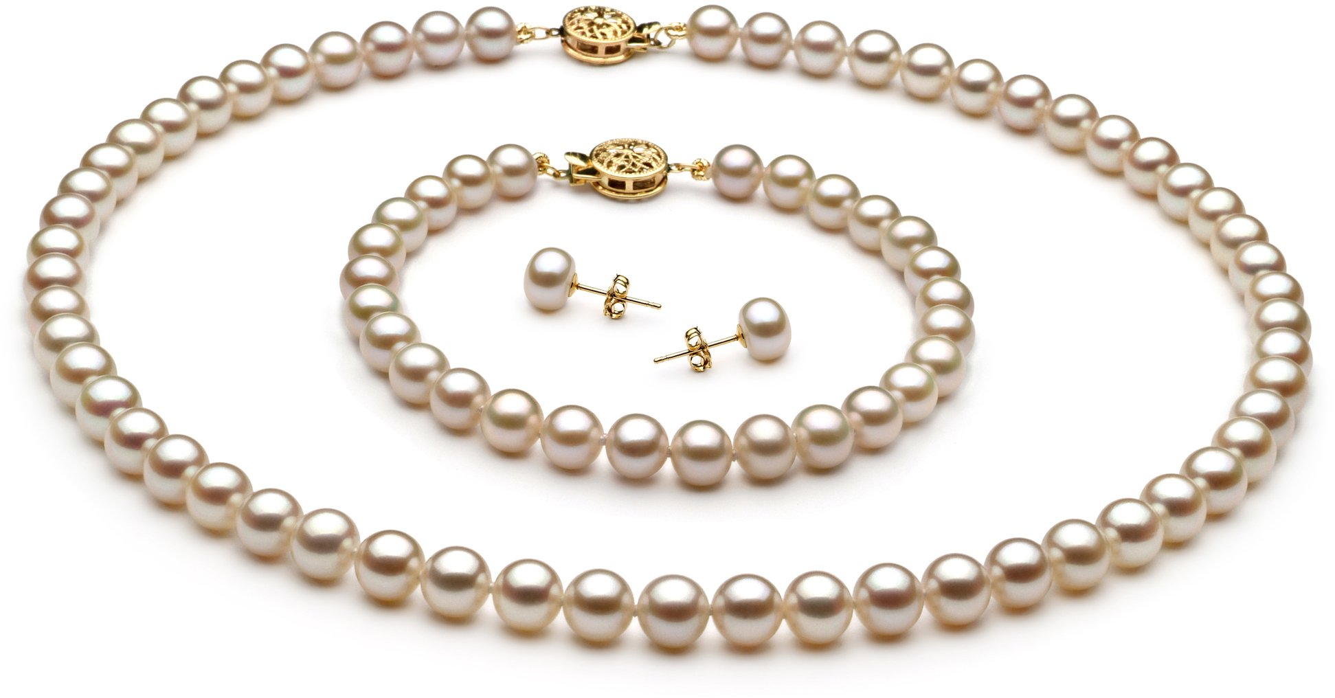 PearlsOnly - White 6-7mm AAA Quality Freshwater Cultured Pearl Set-16 in Chocker length