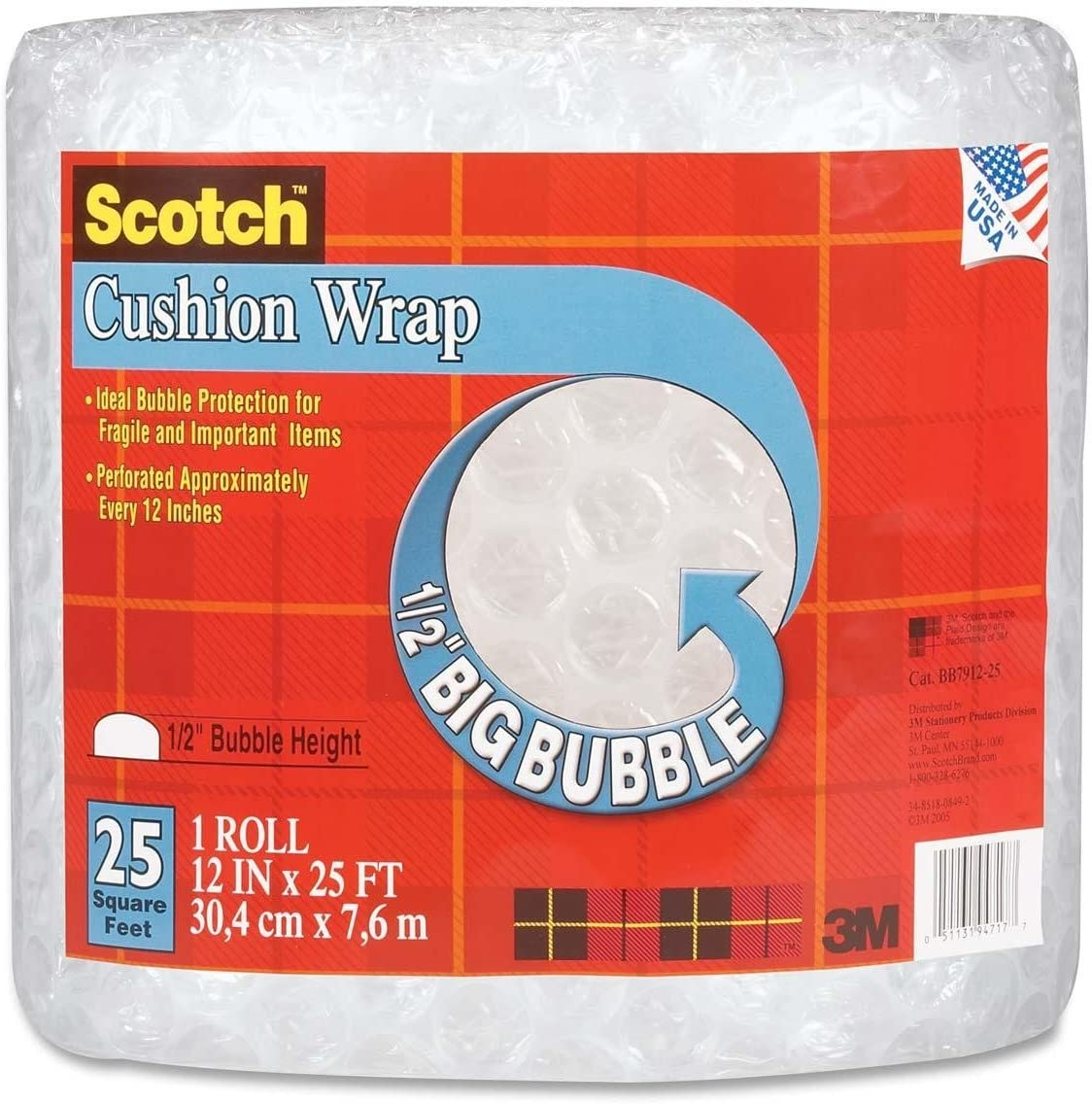 Scotch Cushion Wrap, 12 Inches x 25 Feet, 1/2-Inch Bubble (BB7912-25)