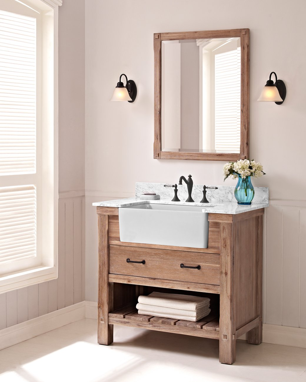 fairmont designs 1507 fv36 napa 36 farmhouse vanity base cabinet only sonoma sand amazoncom - Farmhouse Bathroom Vanity