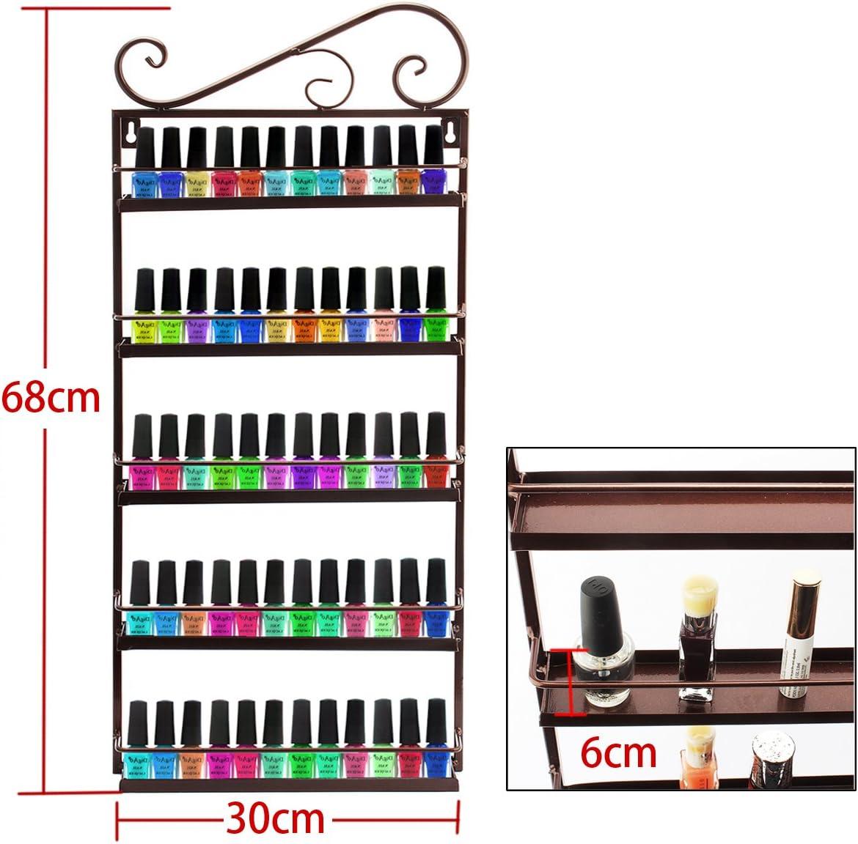 Juego de estantes de pared 3 en 1 (metal, para esmaltes de uñas y aceites esenciales, capacidad para más de 200 esmaltes de uñas) moderno marrón