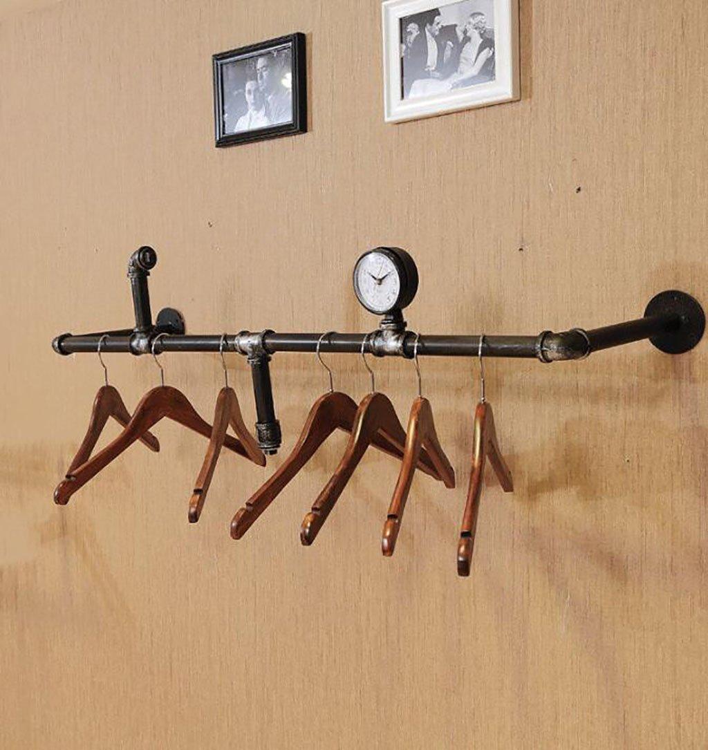 衣類ラック鉄水パイプロフト衣類ラックディスプレイラックラックソリッドウッドは古い水パイプの壁の棚の本棚 (色 : B, サイズ さいず : L120*w28cm) B07DHZKLLV