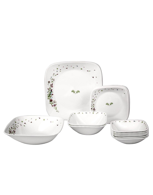 Corelle Dancing Floral Glass Dinnerware Set, 21-Pieces,