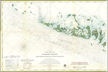 Amazon Com 1859 Nautical Chart Map Of The Florida Keys And Key West