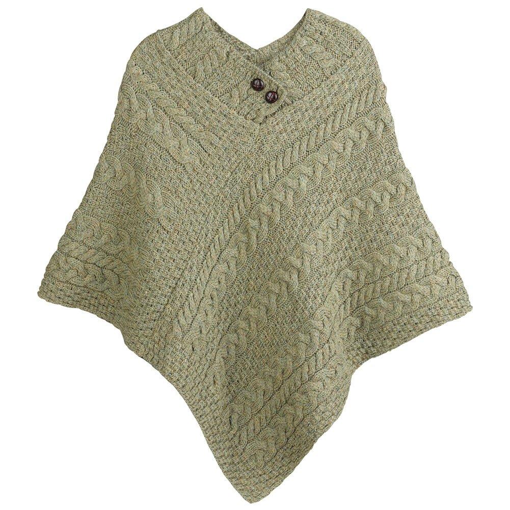 Women's Aran Island Poncho - 100% Merino Wool Cable Knit Sweater - Moss