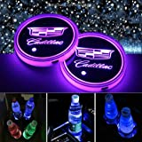 Honghou Technology 2pcs LED Car Cup Holder Lights for Cadillac, 7 Colors Changing USB Charging Mat Luminescent Cup Pad, LED Interior Atmosphere Lamp(Cadillac)
