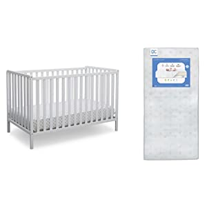 Delta Children Heartland 4-in-1 Convertible Crib, Bianca White + Delta Children Twinkle Galaxy Dual Sided Recycled Fiber Core Crib and Toddler Mattress (Bundle)
