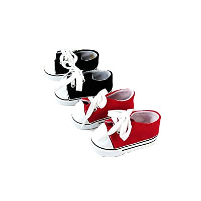 American Fashion World 2 Pack of Sneakers: Red and Black fits 18 Inch Doll: Toys & Games