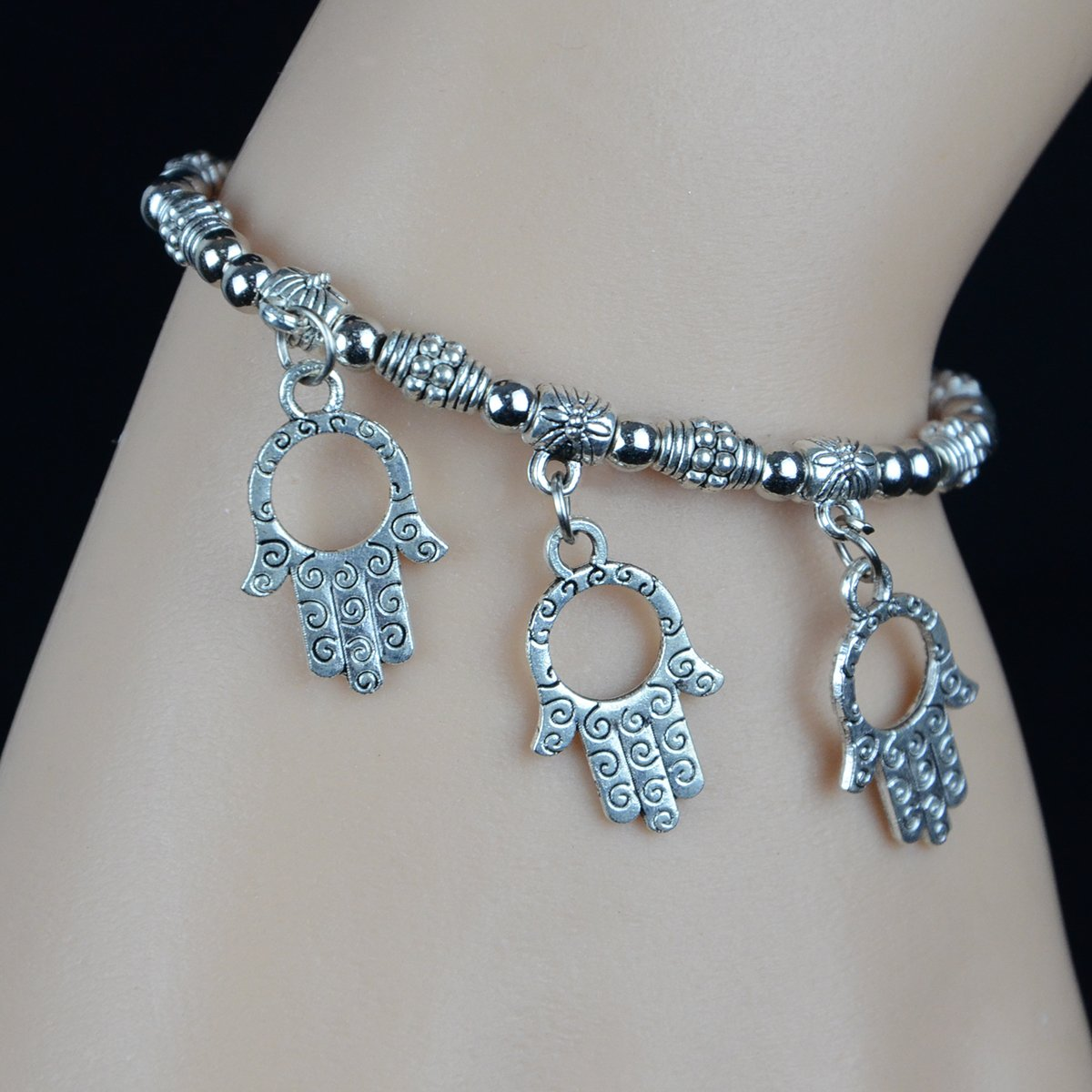 SUBESO Neutral Retro Style Antique Silver Bracelet With Beads /& Palms
