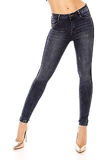 3a859bdd445 Mayaadi Damen Hose Damenjeans Jeans Röhrenjeans SkinnyJeans Pants 5D098  Dunkelblau