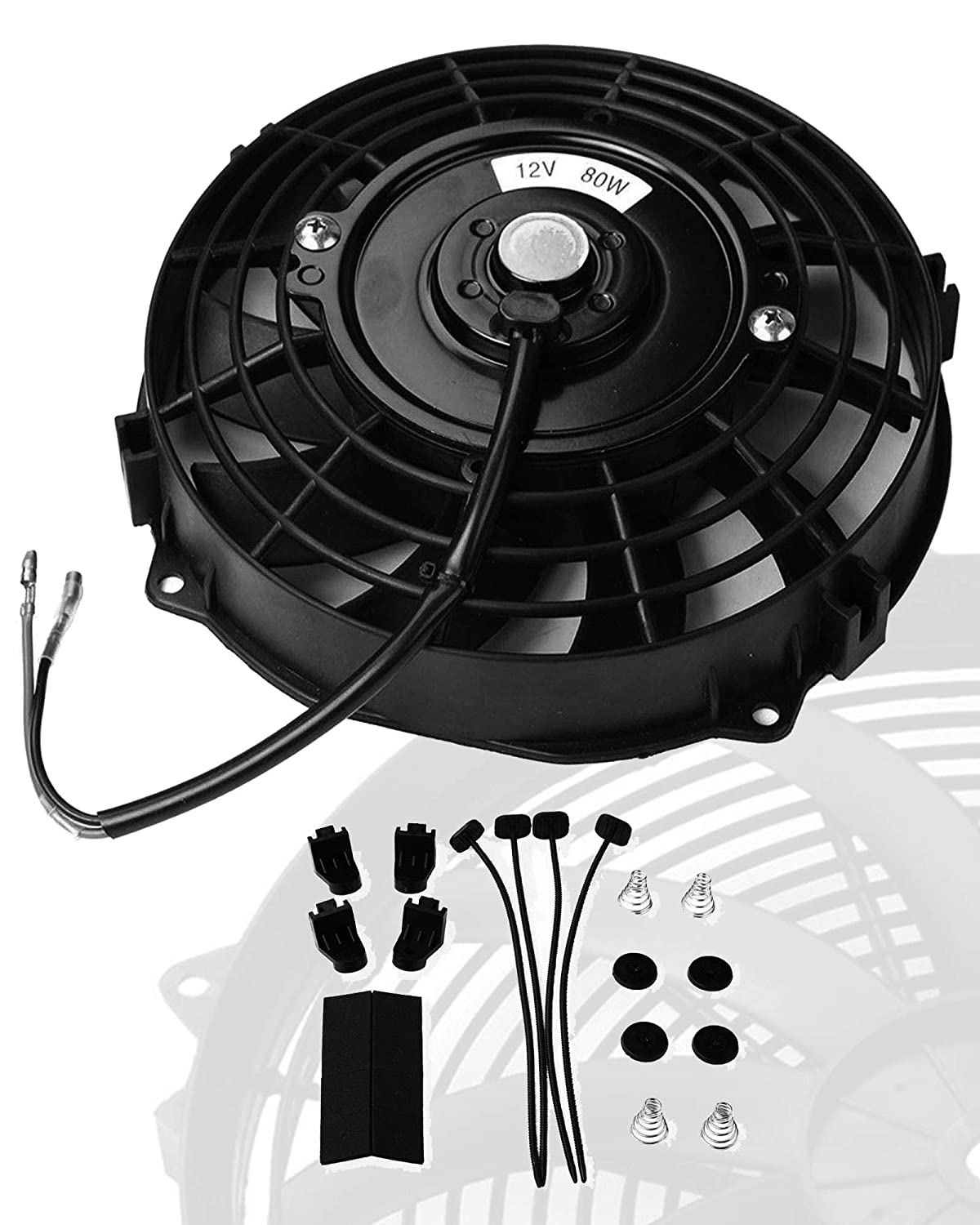 Black, 14 Universal Slim Fan Push Pull Electric Radiator Cooling 12V 80W Mount Kit