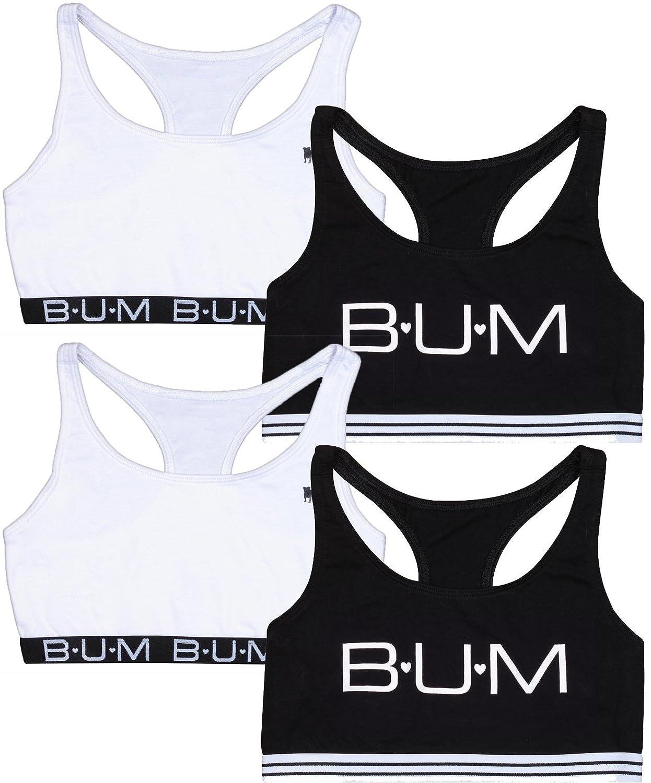 B.U.M. Equipment Girls Racerback Sports Bra, 4 Pack