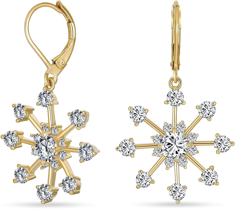 Women 925 Silver Aqua Blue Snowflake Drop Hook Dangle Earring Xmas Party Jewelry