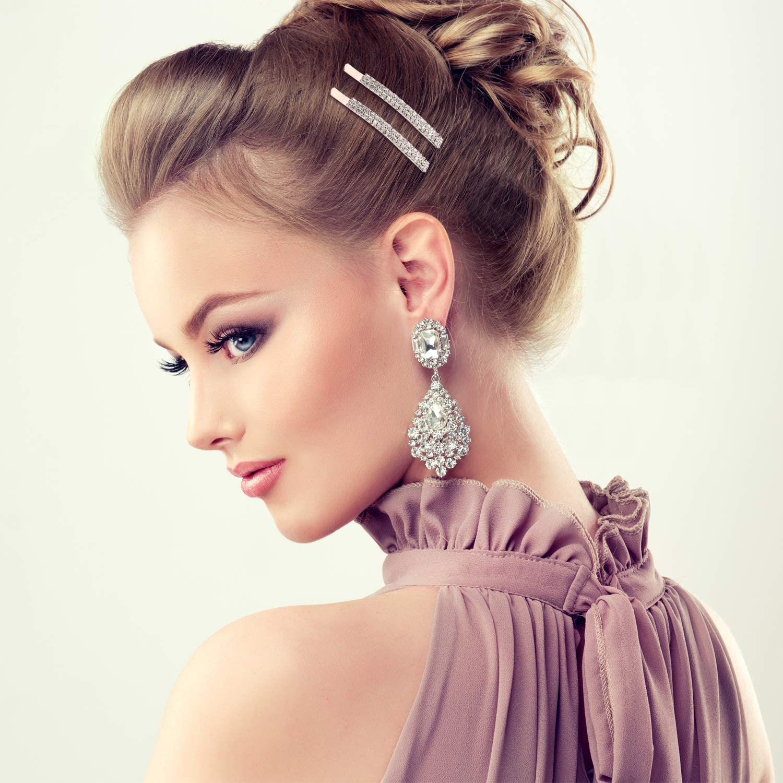 Style A 16 Pieces Rhinestone Crystal Bobby Pins Double Row Rhinestone Hair Barrette Clip Metal Hair Pins for Women Girls