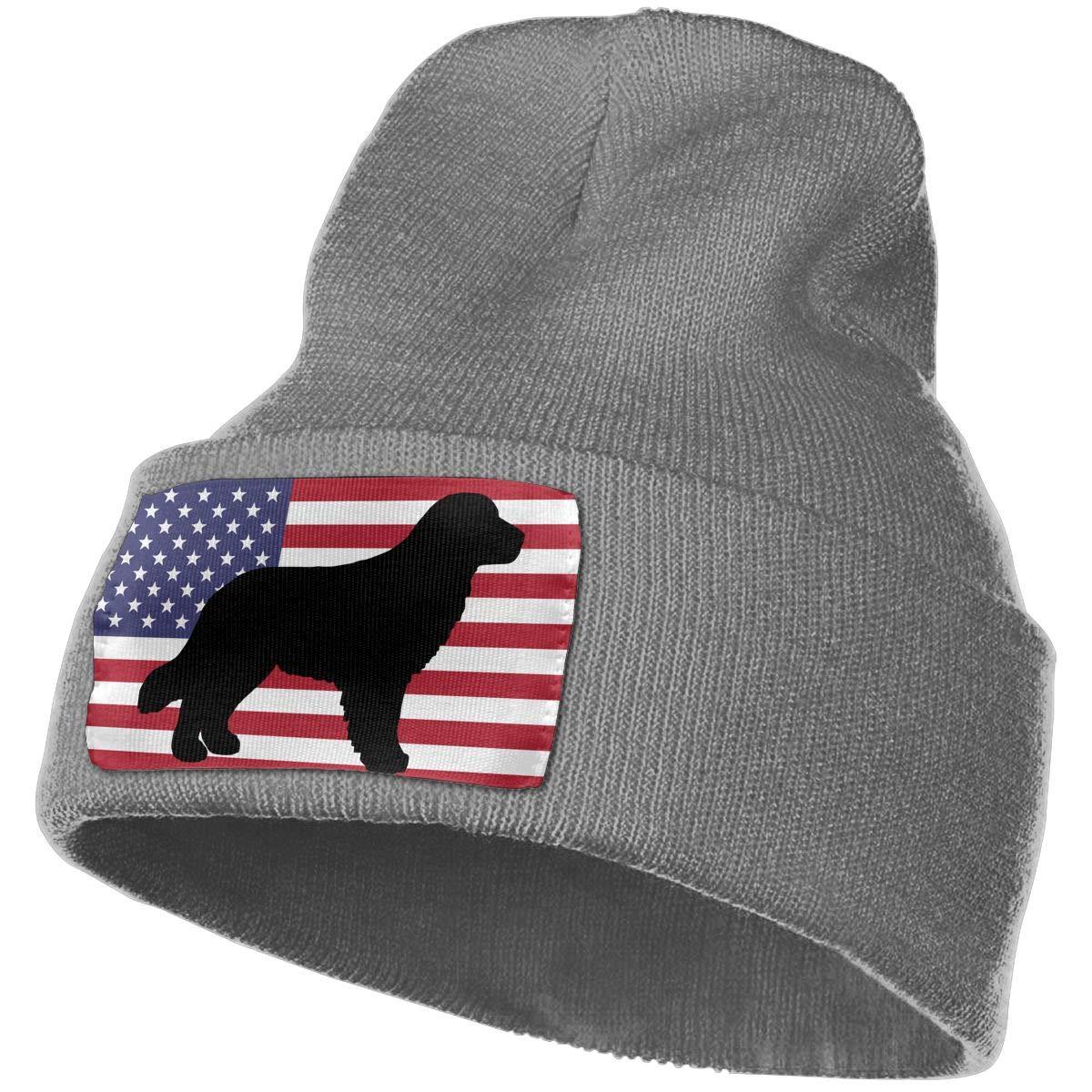 100/% Acrylic Beanie Hat Golden Retriever USA Flag Warm Knitting Hat Mens Womens