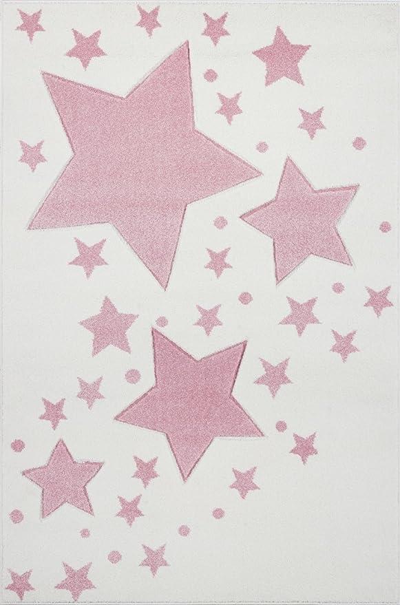 Livone Tapis pour Chambre denfant Motif /étoiles /à Pois Argent/é//Gris Rose argent/é 100x 150 cm