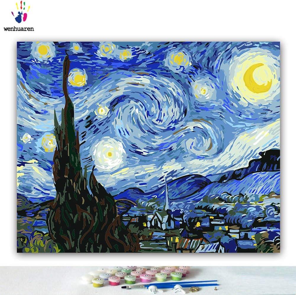 Kits de pintura por números, lienzo de 16 x 20 pulgadas, pintura al óleo para niños, estudiantes, adultos principiantes con pinceles y pigmento acrílico, The Starry Night Van Gogh(sin marco).