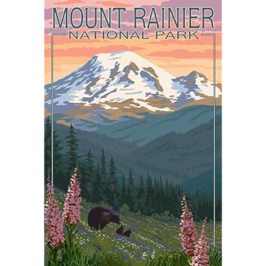 Mount Rainier National Park, Washington - Bear and Cubs with Flowers (9x12 Art Print, Wall Decor Travel Poster)