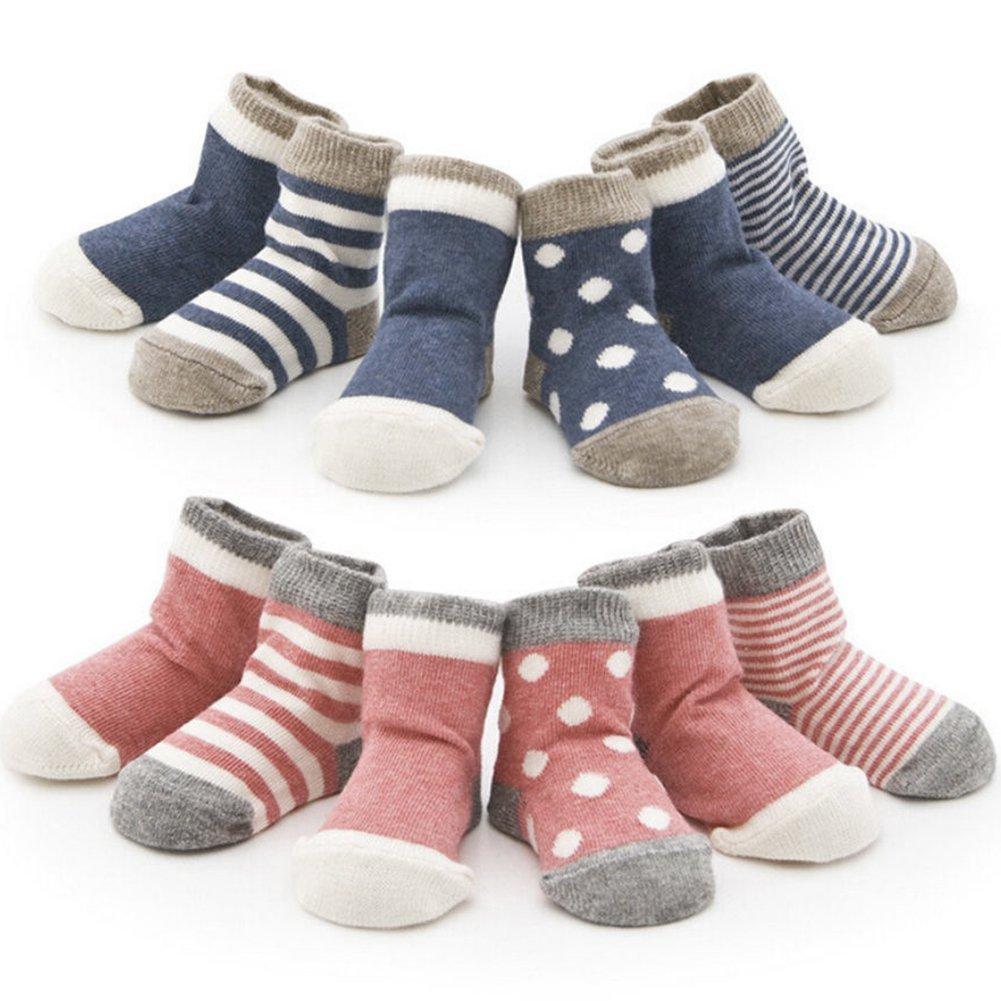 EXIU Newborn Baby Boys Girls Cartoon Cotton Socks Boneless Elastic Edges 4 Pairs