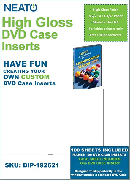 amazon com neato high gloss dvd case inserts 100 sheets to make