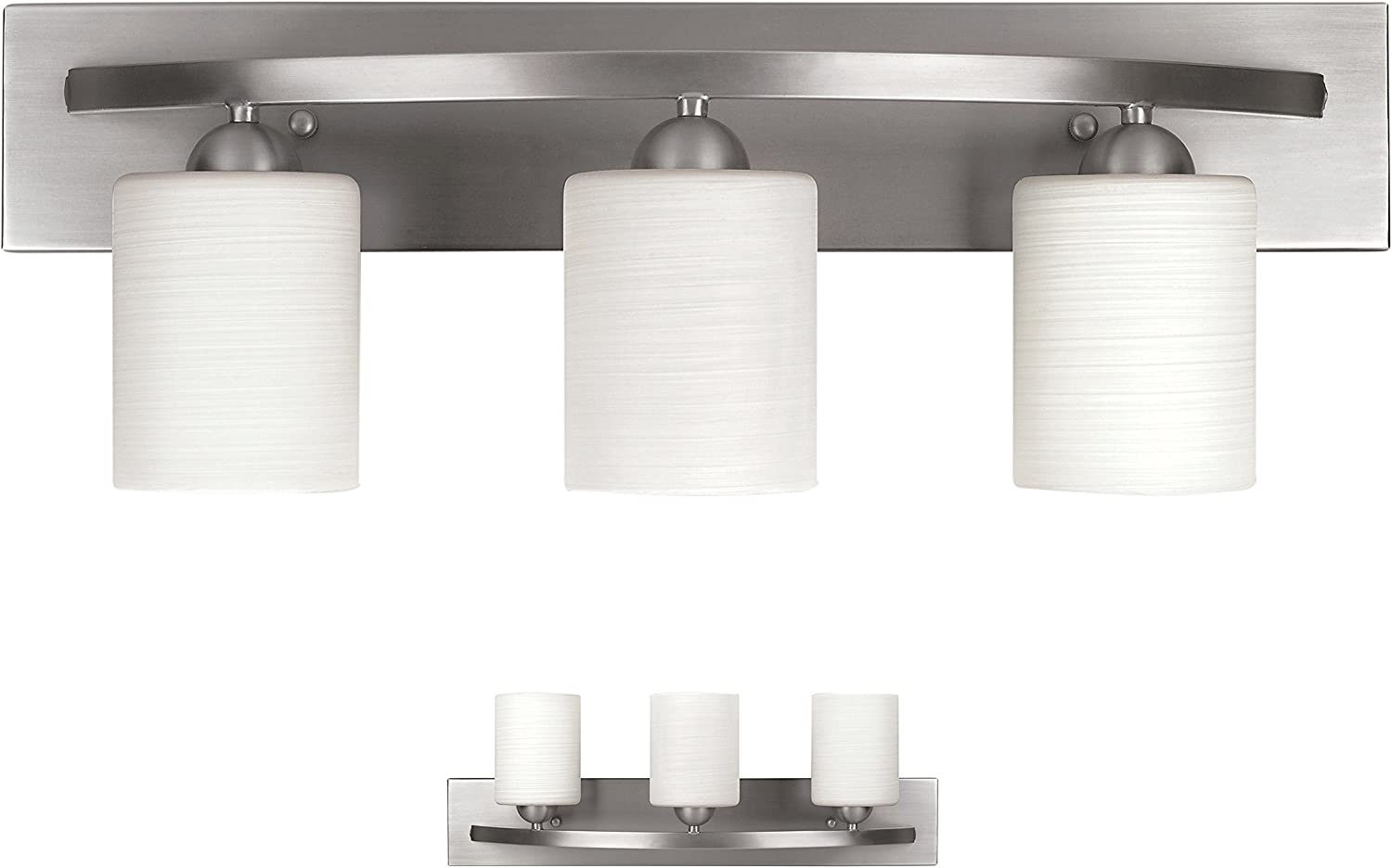 Bennington Lakeland 3-Bulb Bath Vanity Light Fixture Bar, Brushed Nickel - -