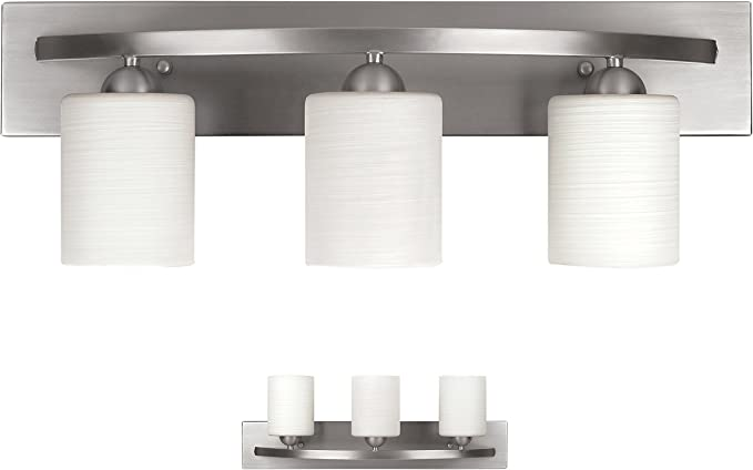 Bennington Lakeland 3 Bulb Bath Vanity Light Fixture Bar Brushed Nickel Amazon Com