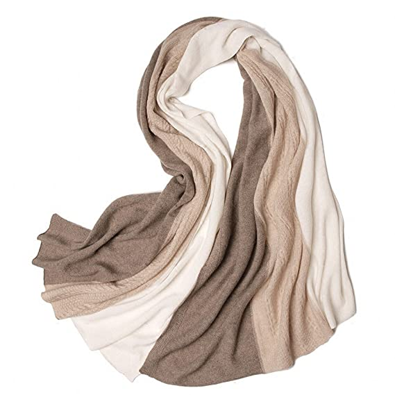 8393230562791 Prettystern - écharpe etole en cachemire pour les femmes chaudes et câlin  doux crème trèfle taupe