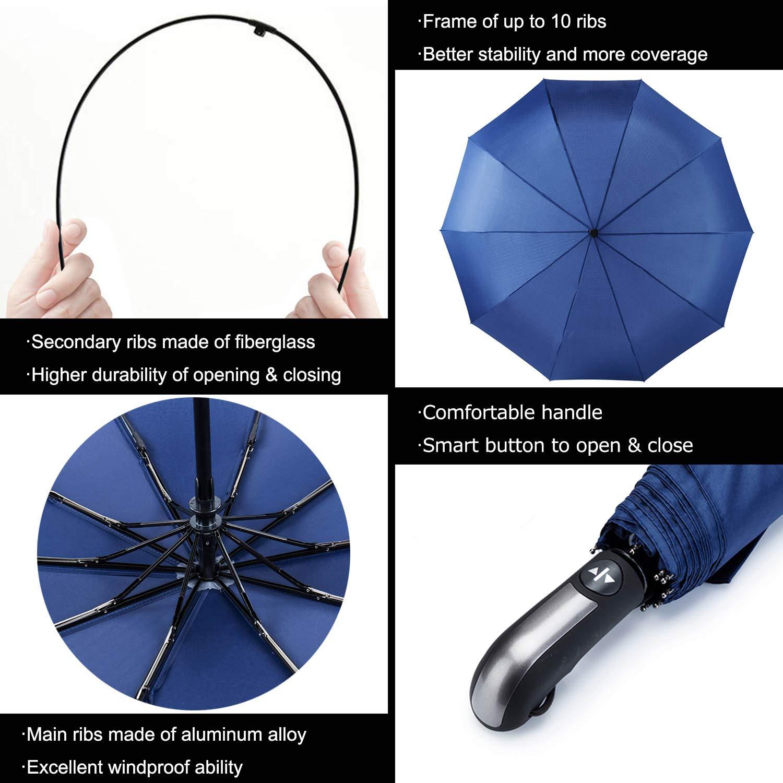 AmaGo Automatic Folding Umbrella Auto Open /& Close 210T Water Repellent Women and Men Traveling Umbrella 10 Ribs Windproof Coffee