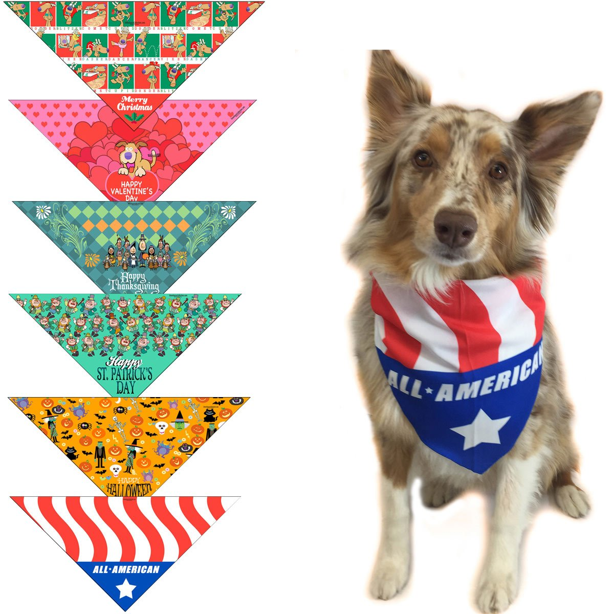 Stonehouse Collection 6 pc Holiday Dog Bandana for Small Dogs - Set of 6 - Christmas, Halloween, Thanksgiving, Valentine's Day, St. Patricks Day, Patriotic