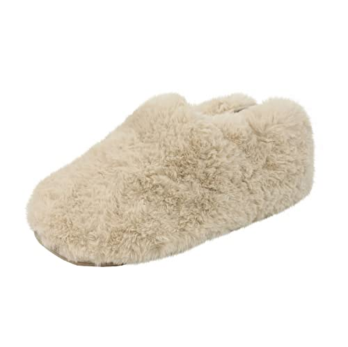 fd54e0e5c92d Ruby and Ed Natural Sheepy Cobi Faux Fur Slippers Small  Amazon.co ...