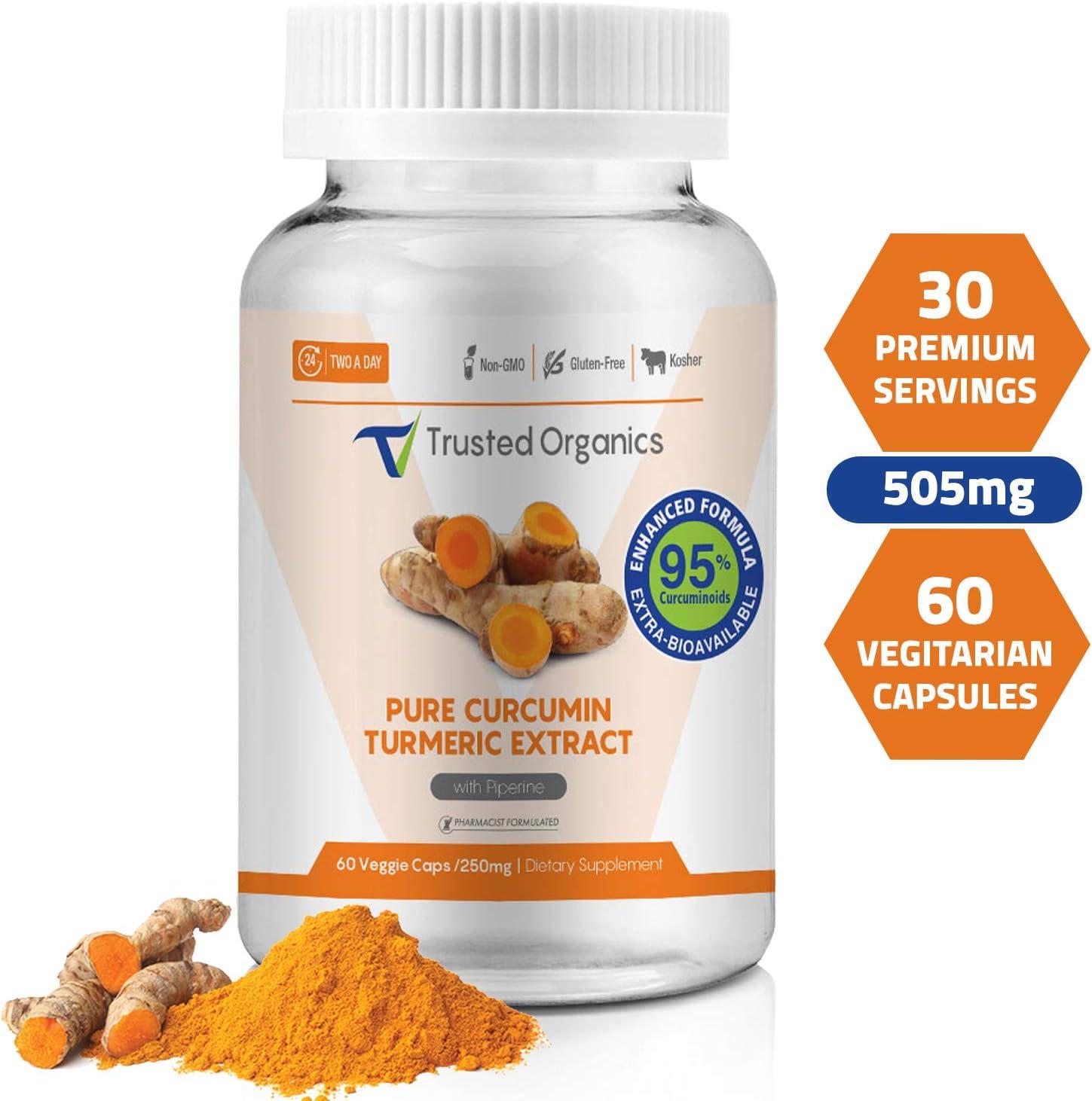 Trusted Organics Extrabioavailable Turmeric Curcumin Powder Capsules