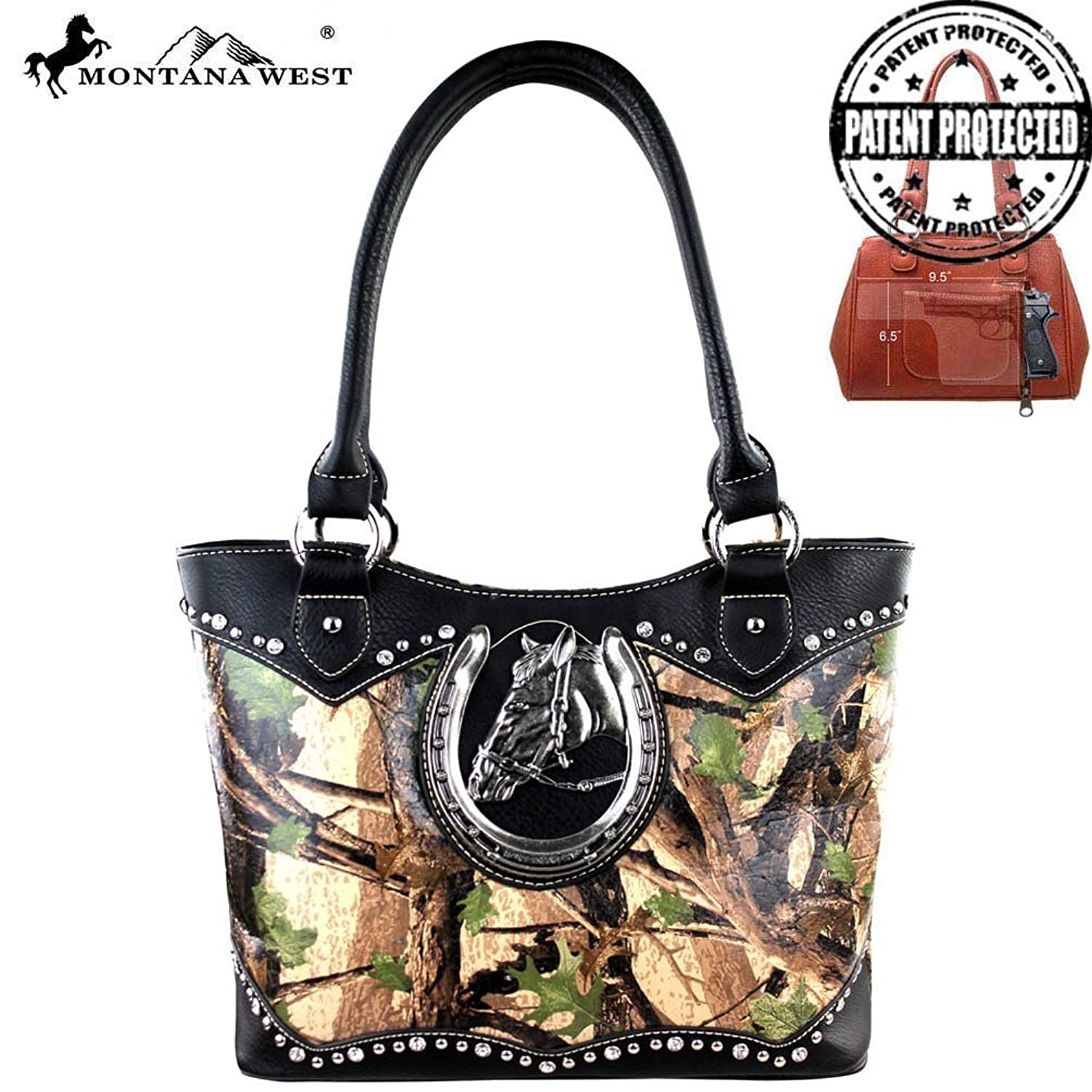Montana West Concealed Carry Camouflage Horse Medallion Purse Green